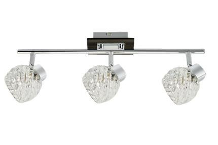 Lampa sufitowa spot listwa 3x40W G9 chrom+wenge klosz szklany Outlet Candellux 93-04604