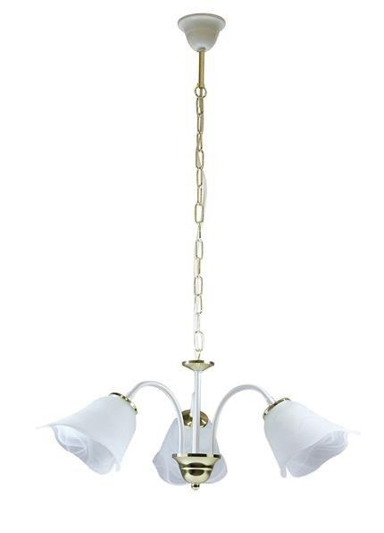 Lampa sufitowa wisząca 3x40W E14 biało/złoty Bella Outlet Candellux 33-07134