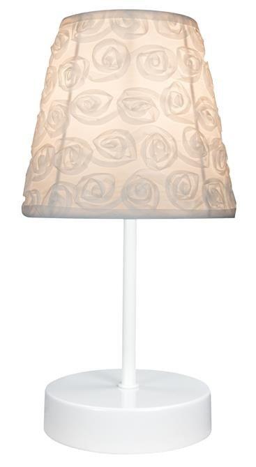 Lampka stołowa nocna biała E14 40W tkany abażur Lori Candellux 41-72771