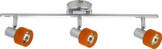 LAMPA SUFITOWA CANDELLUX WYPRZEDAŻ 93-39043 SMART LISTWA 3X50W GU10 SREBRO POMARAŃCZOWY