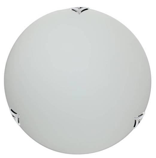 Plafon szklany biały okrągły chrom/satyna 40cm 2x60W E27 Sara Candellux 14-54695